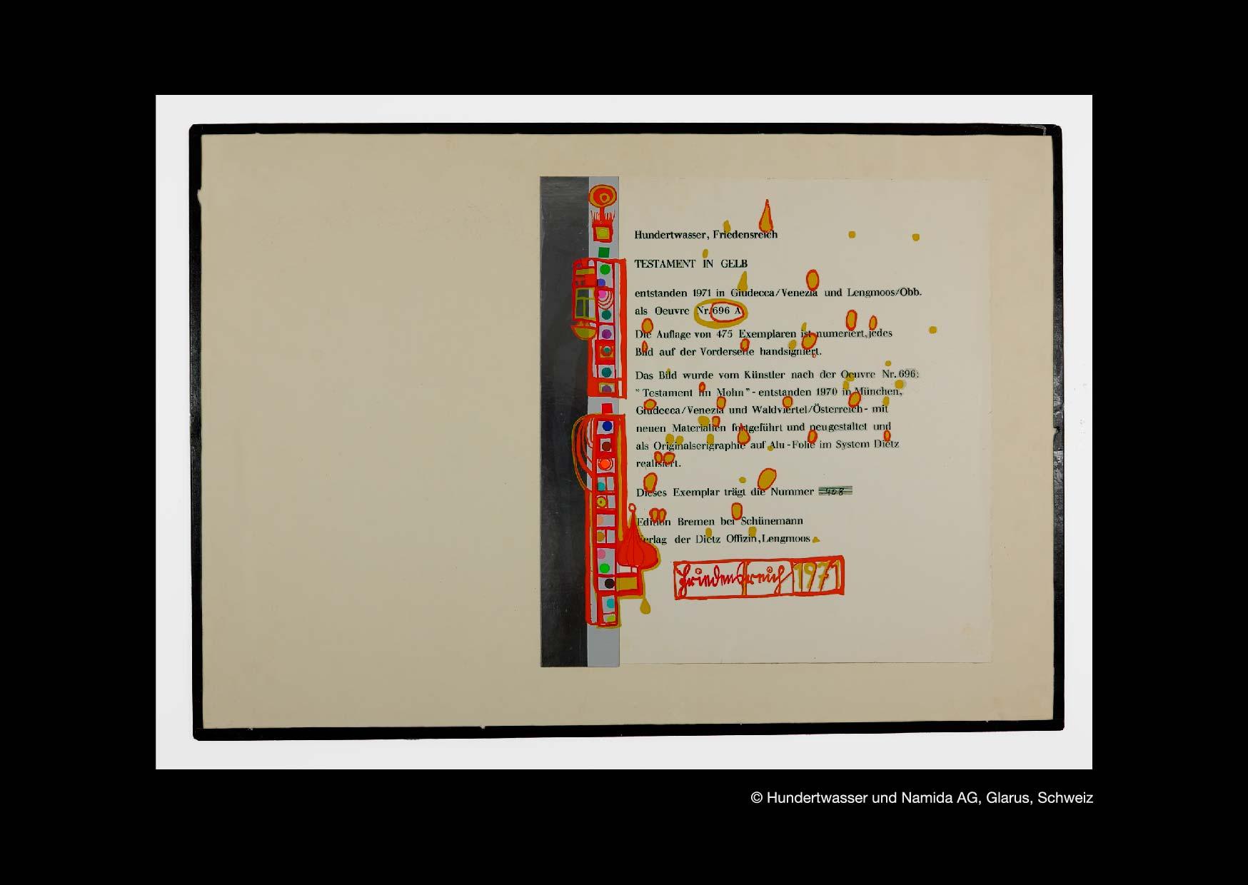 Hundertwasser Testament In Gelb HWG 43 Rene Bernhard Fineart